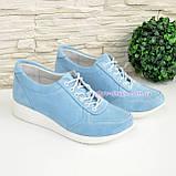 Стильные замшевые туфли-кроссовки женские на шнуровке, цвет голубой, фото 4