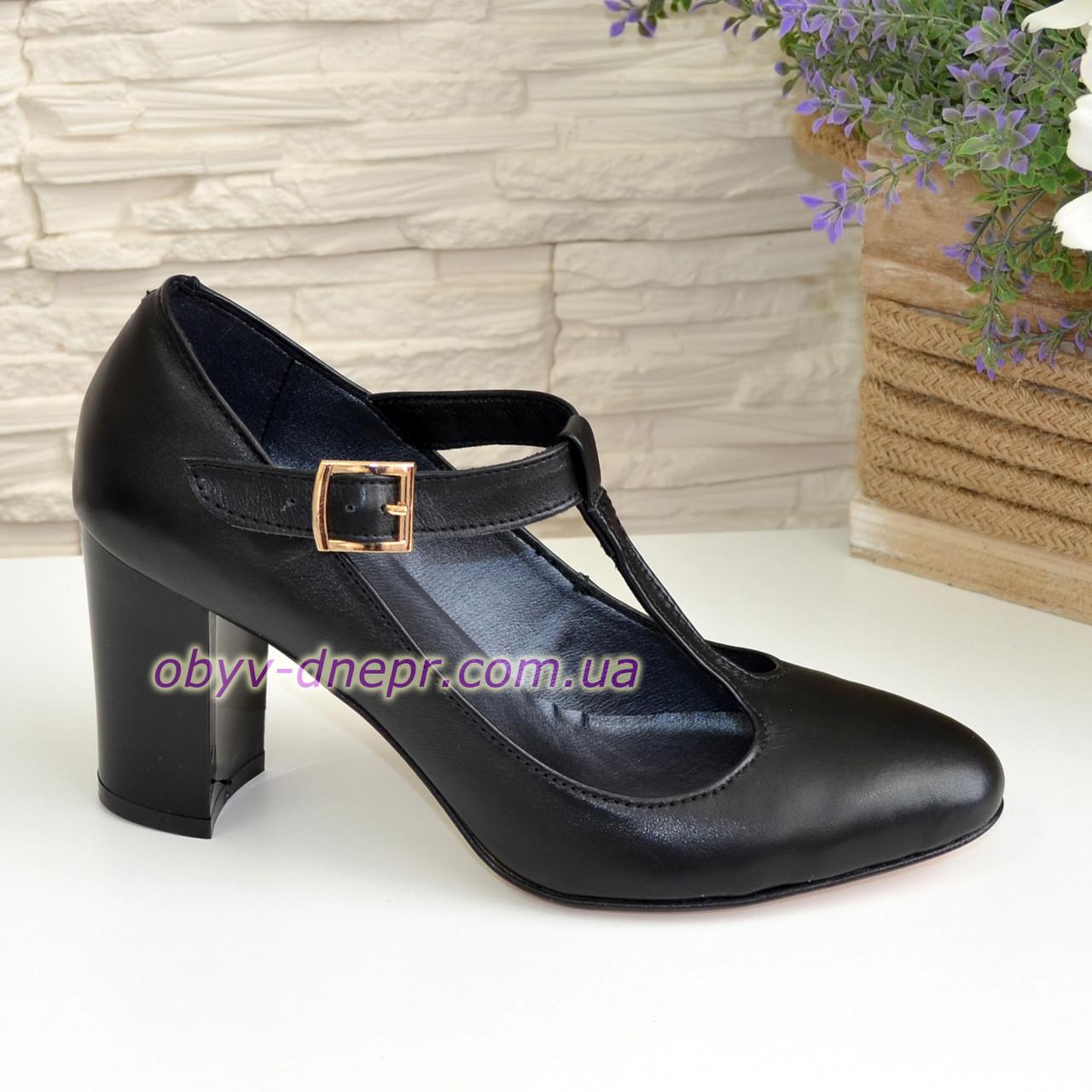 Туфли женские кожаные на устойчивом каблуке, цвет черный