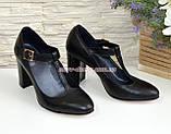 Туфли женские кожаные на устойчивом каблуке, цвет черный, фото 2