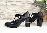 Туфли женские кожаные на устойчивом каблуке, цвет черный, фото 3