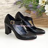 Туфли женские кожаные на устойчивом каблуке, цвет черный, фото 4