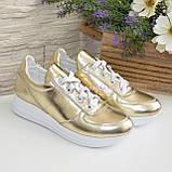 Туфли женские кожаные на утолщенной белой подошве, цвет золото, фото 4