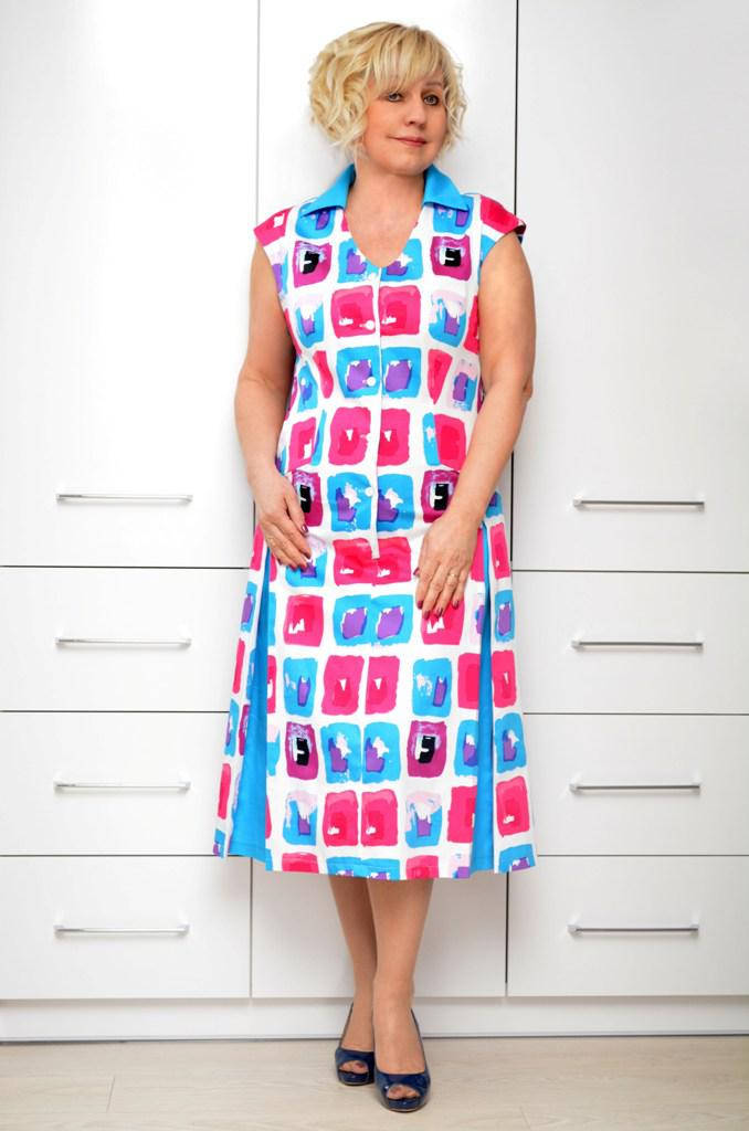 Платье коттон квадратики - Модель 1649