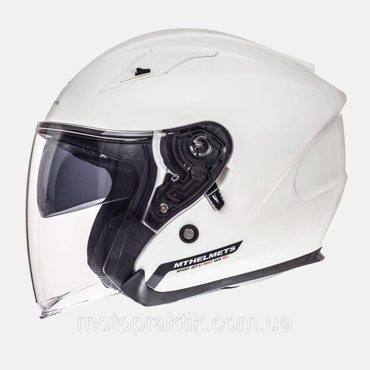 MT Avenue SV Solid Gloss Pearl White, XS, Мотошлем лицевик с очками