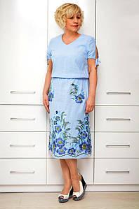 Платье с напуском голубой лен - Модель 1650