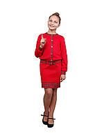 Костюм для девочки трикотажный М-1100-1101  красный, фото 1