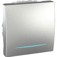 Выключатель перекрестный с подсветкой 1 кл. 2-модульный Schneider Unica Алюминий (MGU3.205.30N)