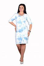"""Нежное женское платье """"Стрейч-коттон"""" с изысканным вырезом на груди 50, 52, 54, 56 размер батал"""