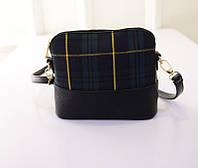Жіноча сумочка маленька через плече зелена клітка