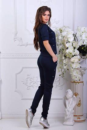 "Стильный женский костюм кофточка+брюки ""Трикотаж"" с бусинками темно-синий 46, 48, 50, 52 размер батал, фото 2"