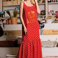 МБ длинное платье в пол,  платье красное в горох