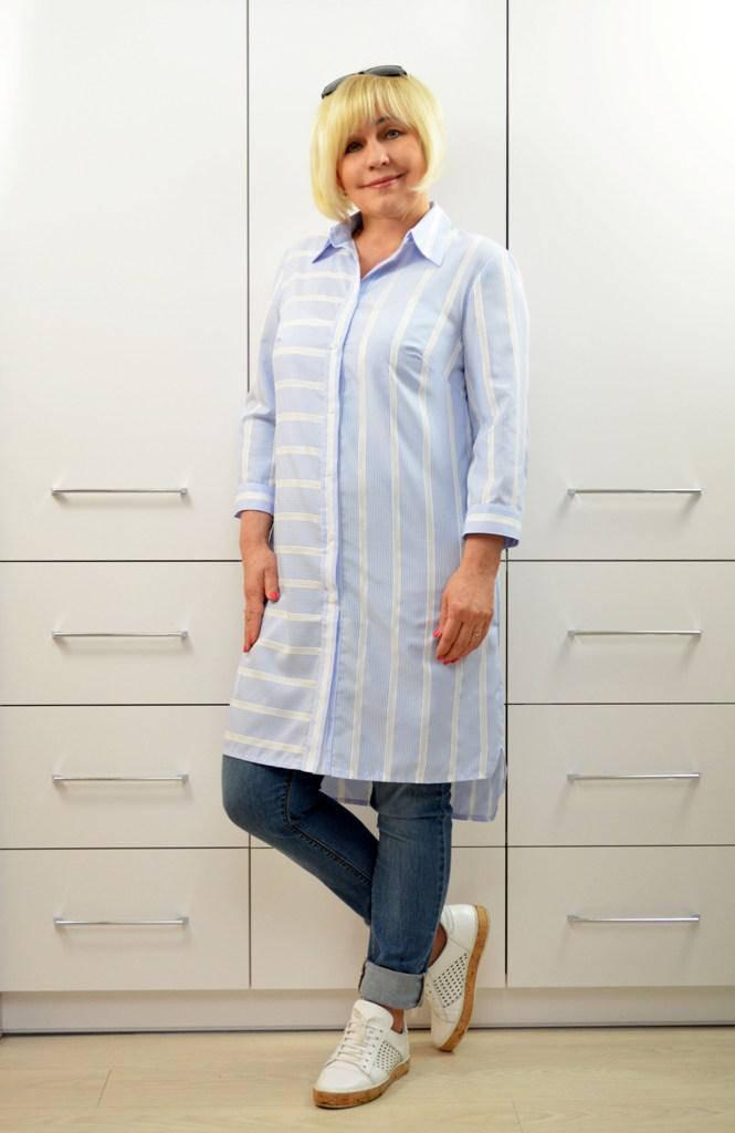 Рубашка голубая в полоску - Модель 1656 (50р) (ф)