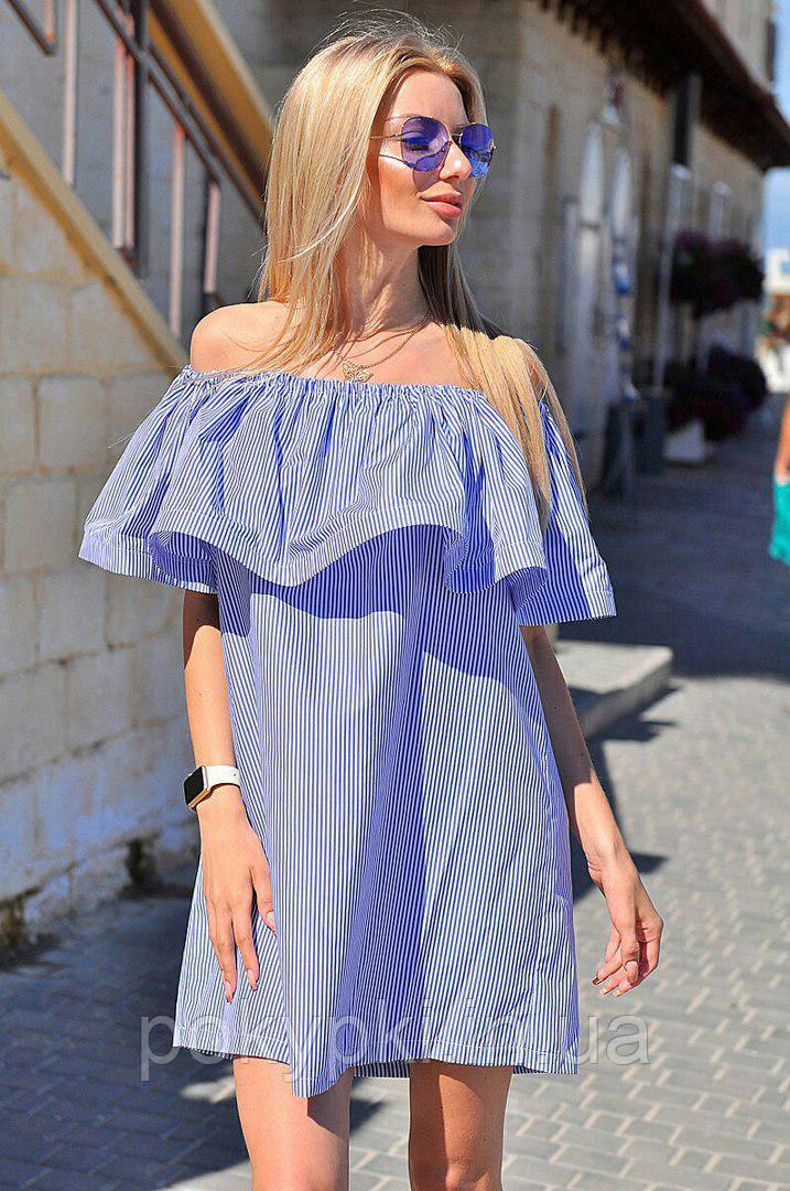 f0a7b4bcdc8 Женское легкое платье крестьянка короткое открытые плечи с воланами цвет  бирюза