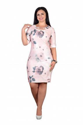 """Нежное женское в стиле прованс платье """"Стрейч-коттон"""" с изысканным вырезом на груди 50,52,54,56 размер батал, фото 2"""