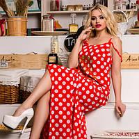 МБ Красное платье в пол,  длинное платье в горох