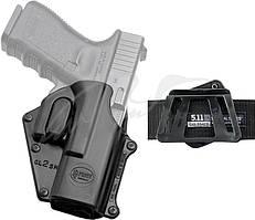 Кобура Fobus для Glock 17/19 поворотная с креплением на ремень/кнопкой фиксации скобы спускового крючкаКобура Fobus для Glock 17/19 поворотная с