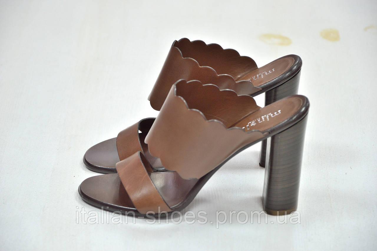 Босоножки сабо на каблуке коричневые Minelli к.-563