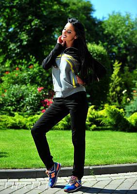 Женский спортивный костюм черного цвета двухнитка