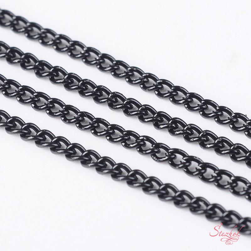 Цепь 3х2 мм цвет черный для рукоделия