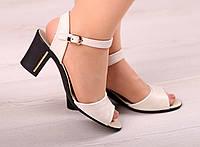 Женские кожаные босоножки небольшом на каблуке, фото 1