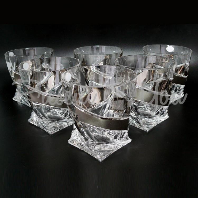 Стаканы для виски «Квадро», платина, 340 мл. BOHEMIA (199-1041)
