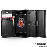 Книжка-Чехол Spigen для iPhone SE/5S/5 Wallet S, Black Leather , фото 1