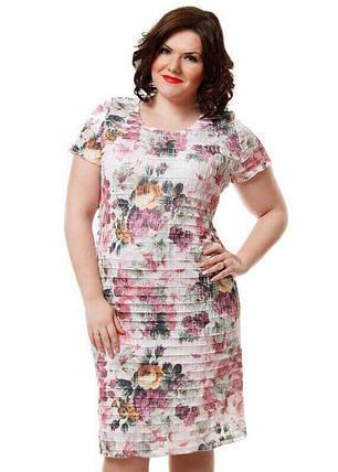 """Удивительное женское платье с рюшами ткань """"стрейч сетка на хб подкладке"""" 52, 54 размер батал, фото 2"""