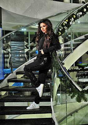 Женский спортивный костюм  2-х нитка (петля)+ пайетка (чёрная/серебро).Цвет черный
