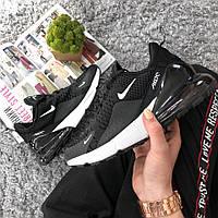 Женские кроссовки Nike Air Max 270 Black White  топ Реплика, фото 1