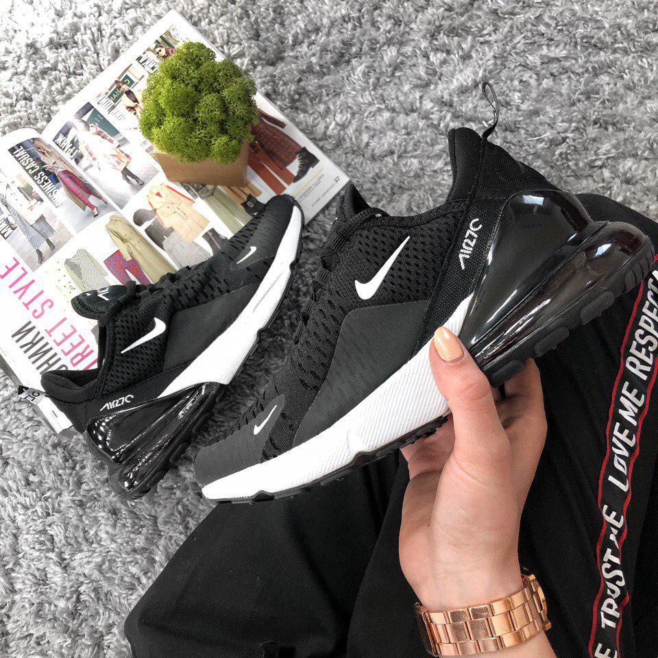 Женские кроссовки Nike Air Max 270 Black White  топ Реплика
