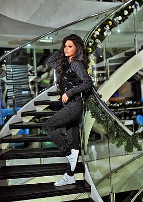 Женский спортивный костюм  люрексовоя 2-х нитка (петля). Цвет: Чёрный+ пайетка (чёрная/серебро).
