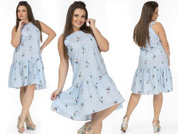 "Летнее женское платье ткань ""штапель"" размер 50, 52, 54 размер батал"