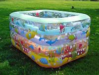 """Бассейн детский надувной прямоугольный, """"Аквариум"""" 110*95*70см, Европейское качество"""