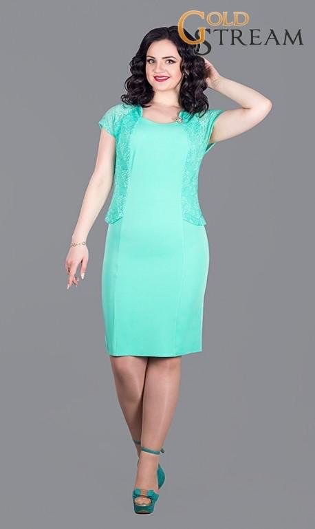 """Элегантное платье с кружевом ткань """"Костюмная"""" 52, 54 размер батал"""