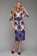 Платье  большого размера VР53 синий принт
