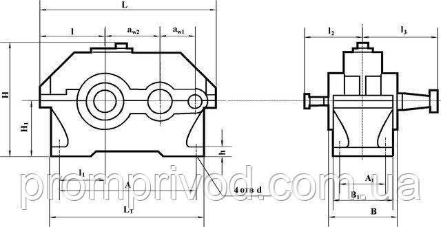 Схема двухступенчатого цилиндрического редуктора 1Ц2У