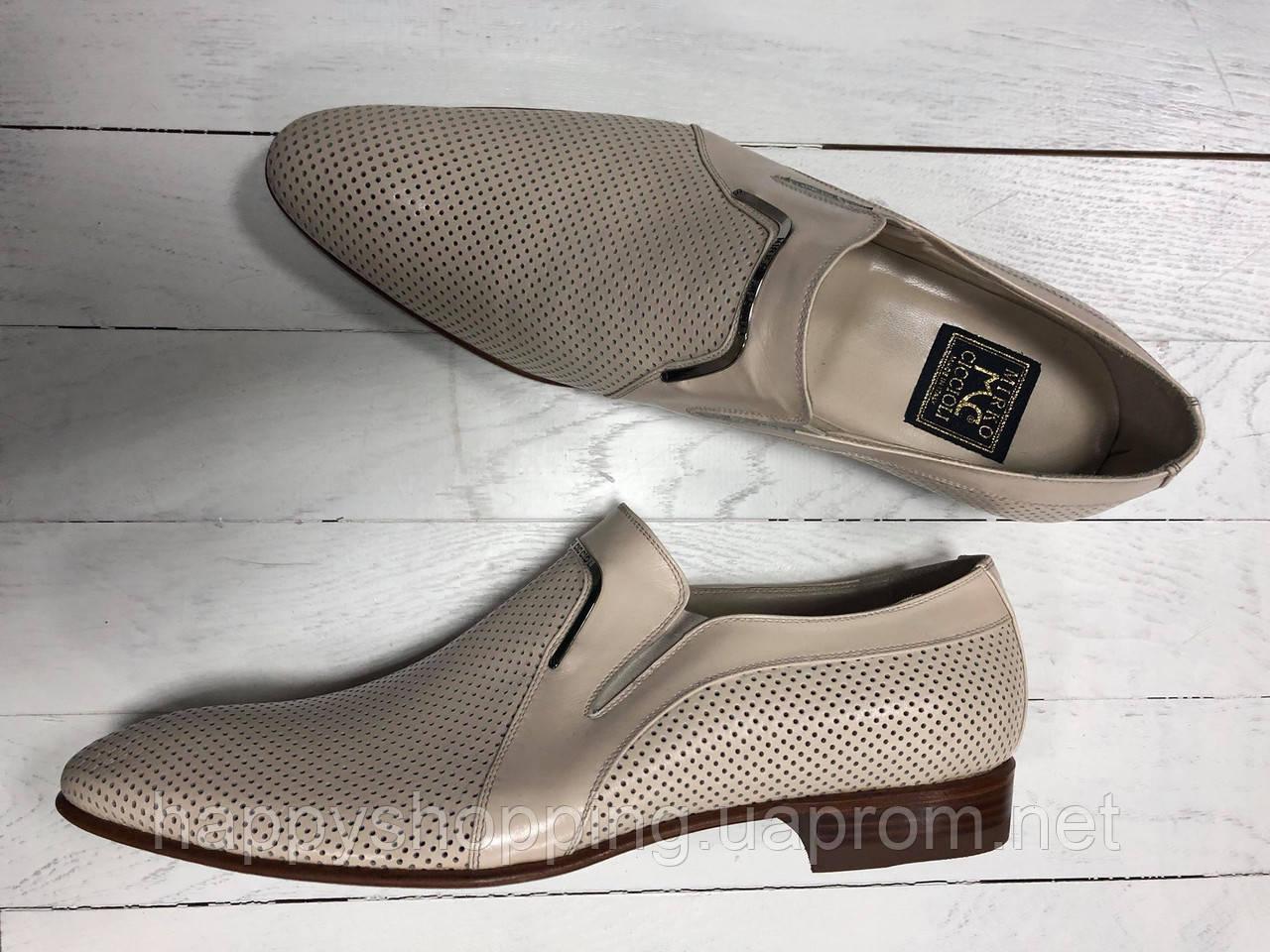 Мужские бежевые кожаные  итальянские  туфли Mirko Ciccioli