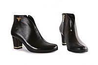 Сапоги женские демисезонные кожаные на невысоком каблуке