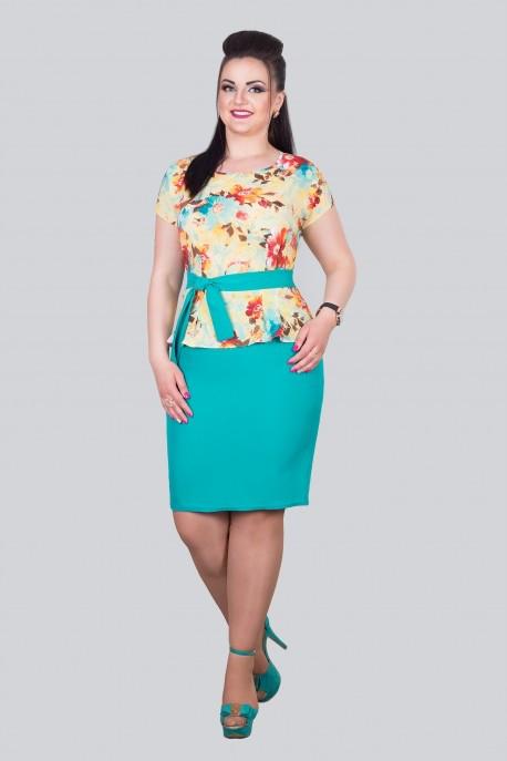 """Летнее платье с баской """"шифон+костюмная ткань"""" 50,52,54,56,58 размер батал"""