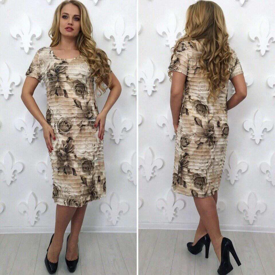 """Удивительное женское платье с рюшами ткань """"стрейч сетка на хб подкладке"""" 52, 56, 58 размер батал"""