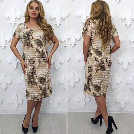 """Удивительное женское платье с рюшами ткань """"стрейч сетка на хб подкладке"""" 52, 56, 58 размер батал, фото 2"""