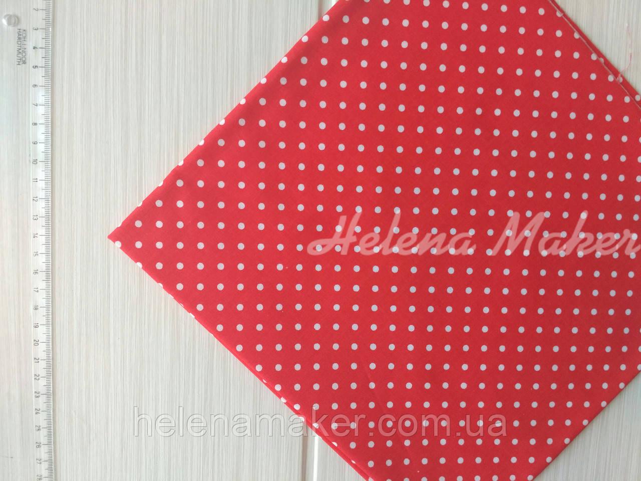 Хлопковая ткань красная в мелкий горошек 4 мм. Размер отреза 50*50 см