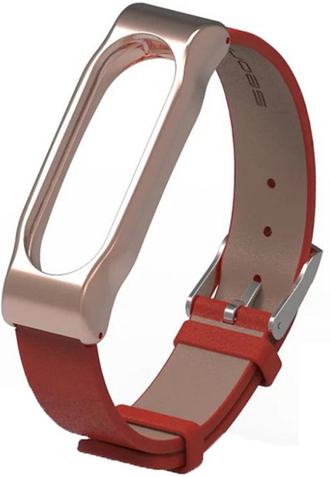 Ремешок кожаный Xiaomi Mi Band 2 MiJobs браслет натуральная кожа Красный / Золотой [1081]