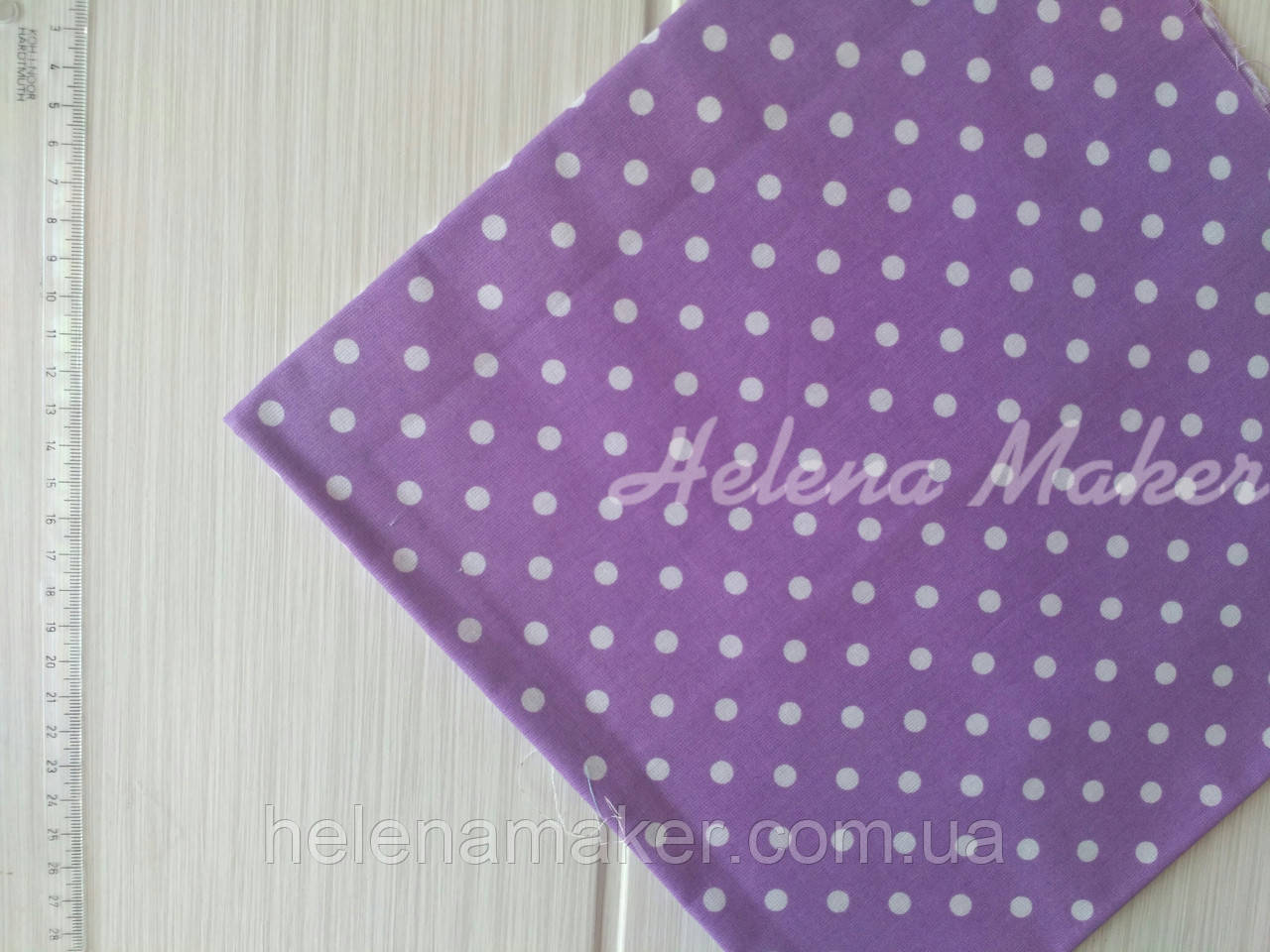 Бавовняна тканина бузкова горошок 7 мм. Розмір відрізу 50*50 см