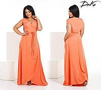 Длинное летнее батальное однотонное платье на запах. 5 цветов!, фото 1