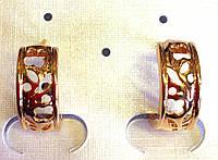 Серьги кольца ХР 18 к , узоры, позолота