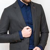 Мужской стильный пиджак классический с крупными карманами угольный (серый)