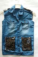 Джинсовая жилетка для девочек от 8 до 12 лет , фото 1