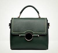 Женская сумка стильная среднего размера зеленая , фото 1