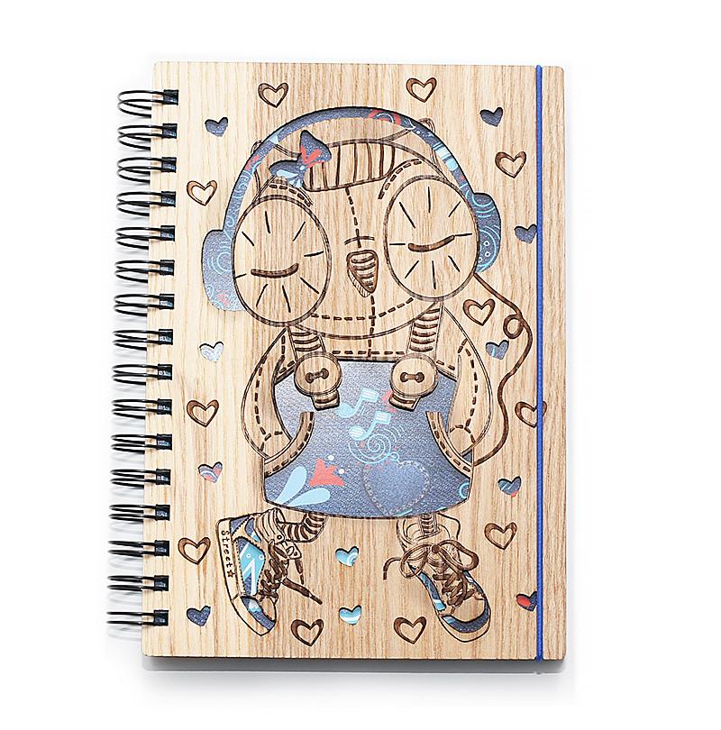 """Блокнот скетчбук """"Сова - королева музыки"""" с голубым внутренним блоком, фото 1"""